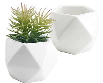 Set Of 2 White Ceramic Geometric Design Mini Succulent Planter