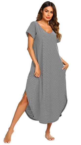 Ekouaer Sleepwear Short Sleeve Long Nightgown