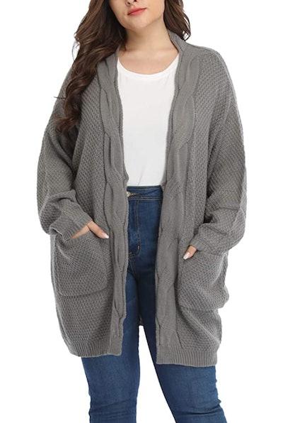 Shiaili Classic Plus Size Thick Oversized Long Cardigan