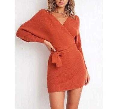 Mansy Wrap Sweater Dress