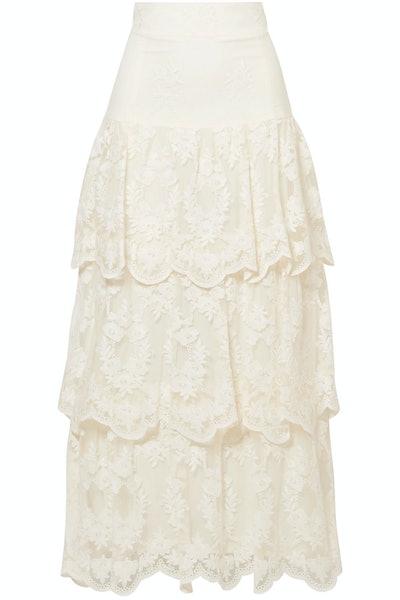 Sasi Tiered Embroidered Tulle Maxi Skirt