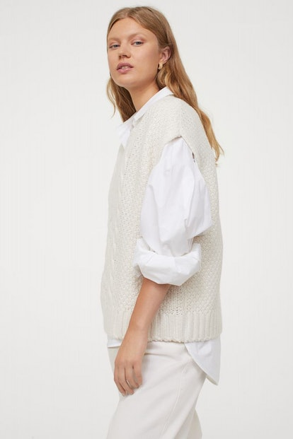 H&M Relaxed-fit, V-neck Sweater Vest in Soft, Cable-knit Fabric.