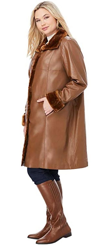 Jessica London Women's Plus Size Fur-Trimmed Leather Swing Coat