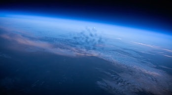 A shot of Earth captured by a camera in space.