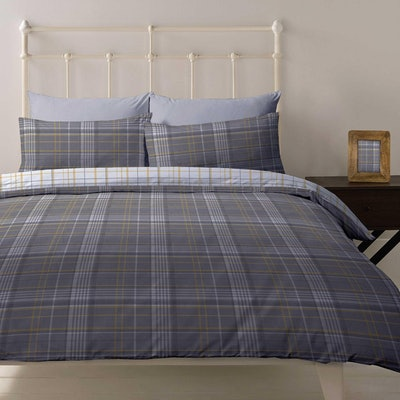 Ochre Country Check Double Duvet Cover & Pillowcases