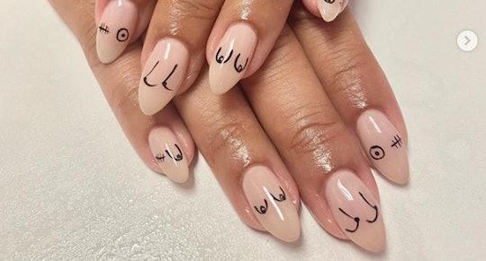 minimal pretty breast cancer awareness nail art