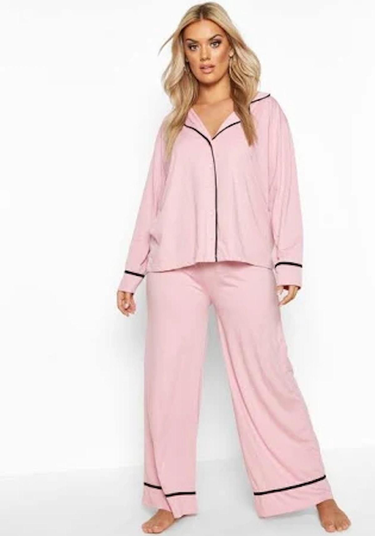 Boohoo Blush pink Plus Long Sleeve Button Through Jersey PJ Set alternative image Blush pink Plus Lo...
