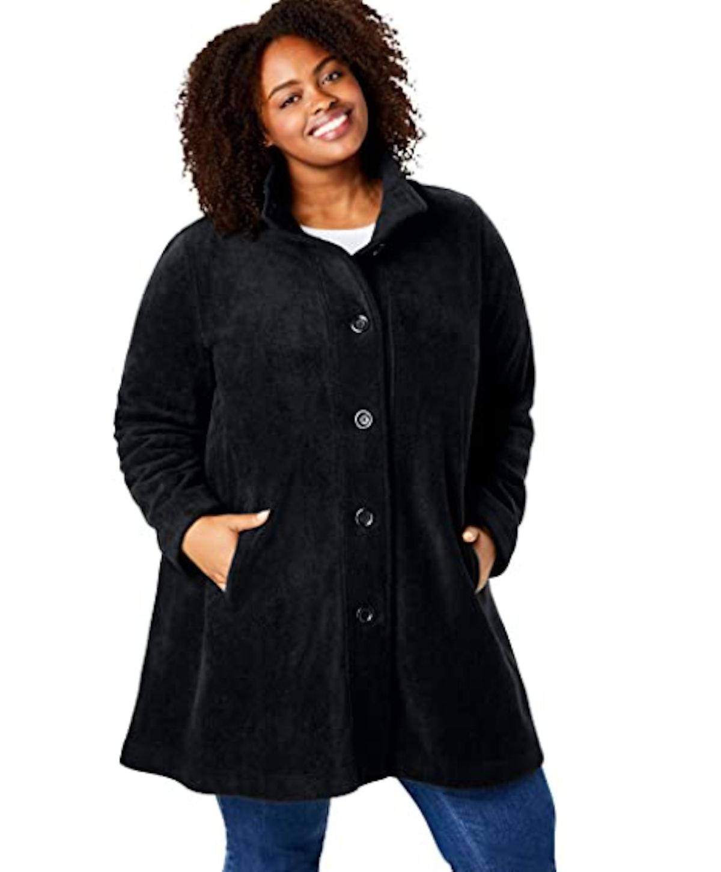 Woman Within Plus Size Fleece Coat