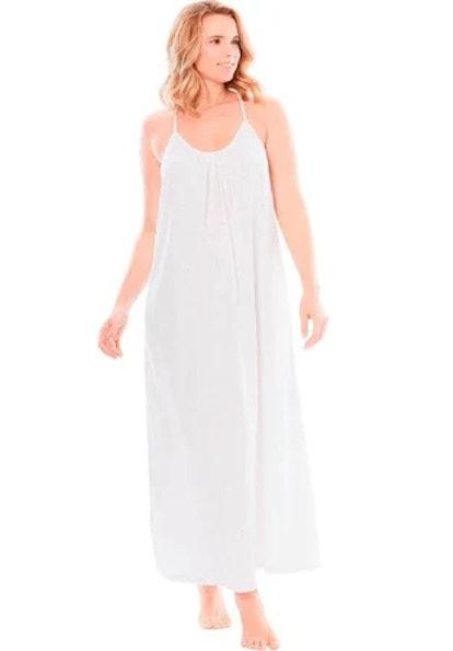 Dreams & Co. Breezy Eyelet Knit Long Nightgown