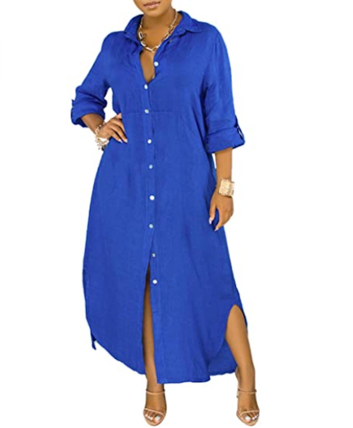 PerZeal Shirt Maxi Dress