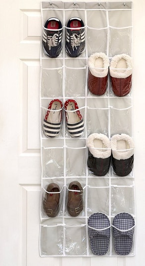SimpleHouseware Crystal Clear Over The Door Hanging Shoe Organizer (24 Pockets)