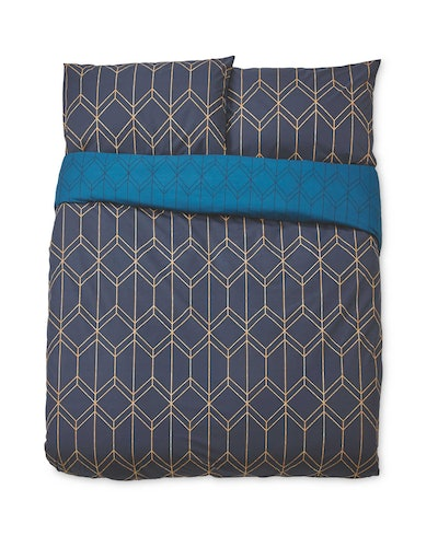 Blue Geo Print Double Duvet Set