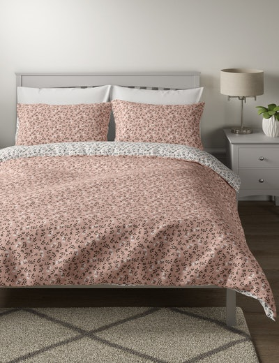 Cotton Mix Reversible Floral Double Duvet Bedding Set