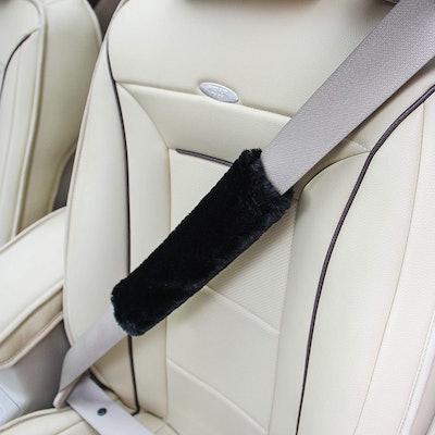 Amooca Faux Sheepskin Seat Belt Pad (2-Pack)