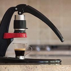Manual espresso machine on counter