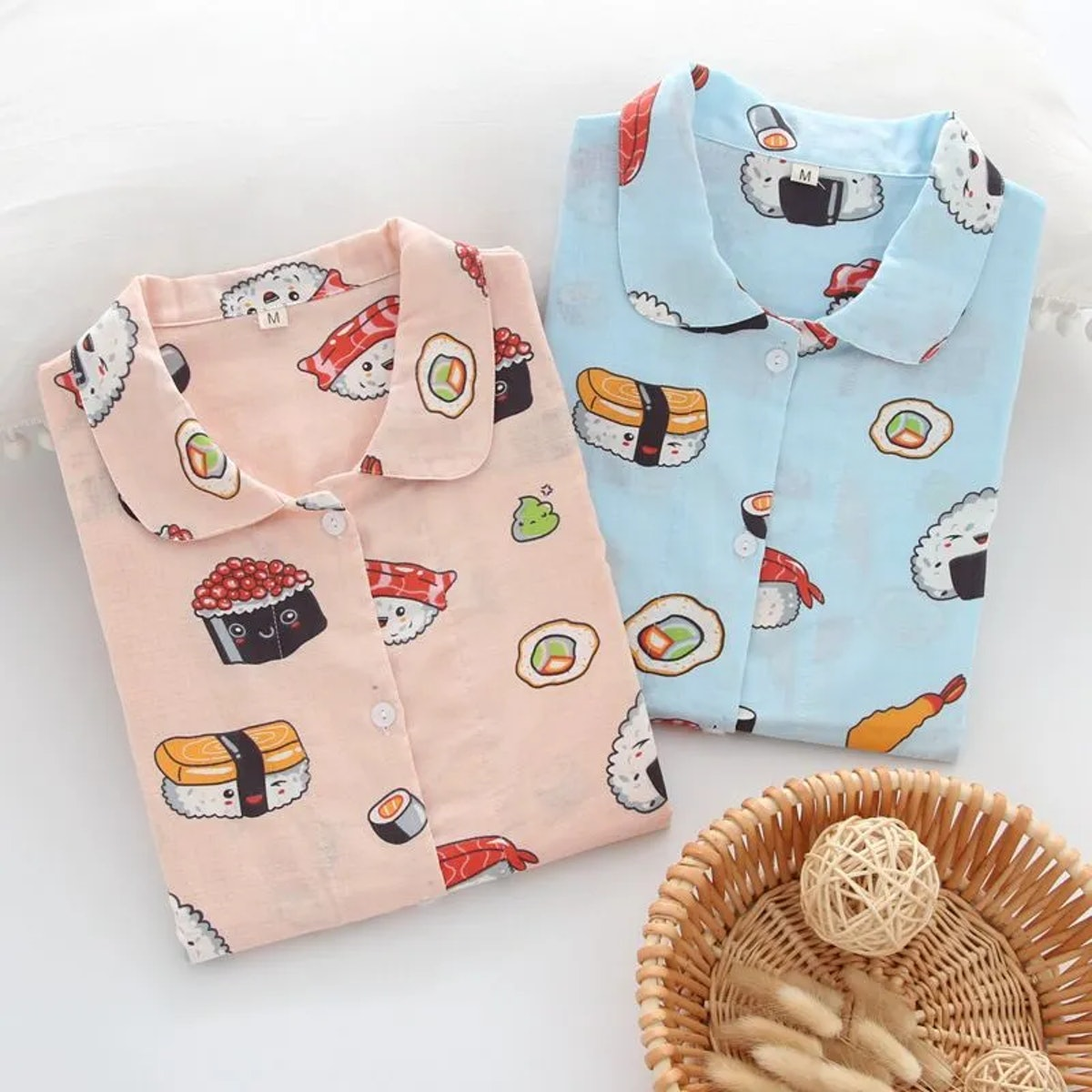 Somnus Pajama Set: Sushi Print Shirt + Pants