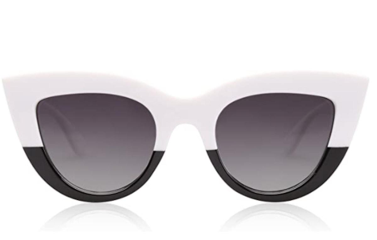SOJOS Retro Vintage Cateye Sunglasses for Women Plastic Frame Mirrored Lens