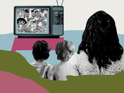 A stylized illustration of a mom and two young girls seen from the back. They are watching a TV with a scene from Dora The Explorer.
