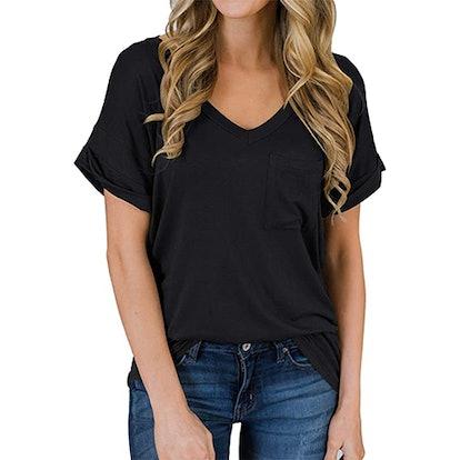 MIHOLL Loose Short Sleeve V-Neck T-Shirt