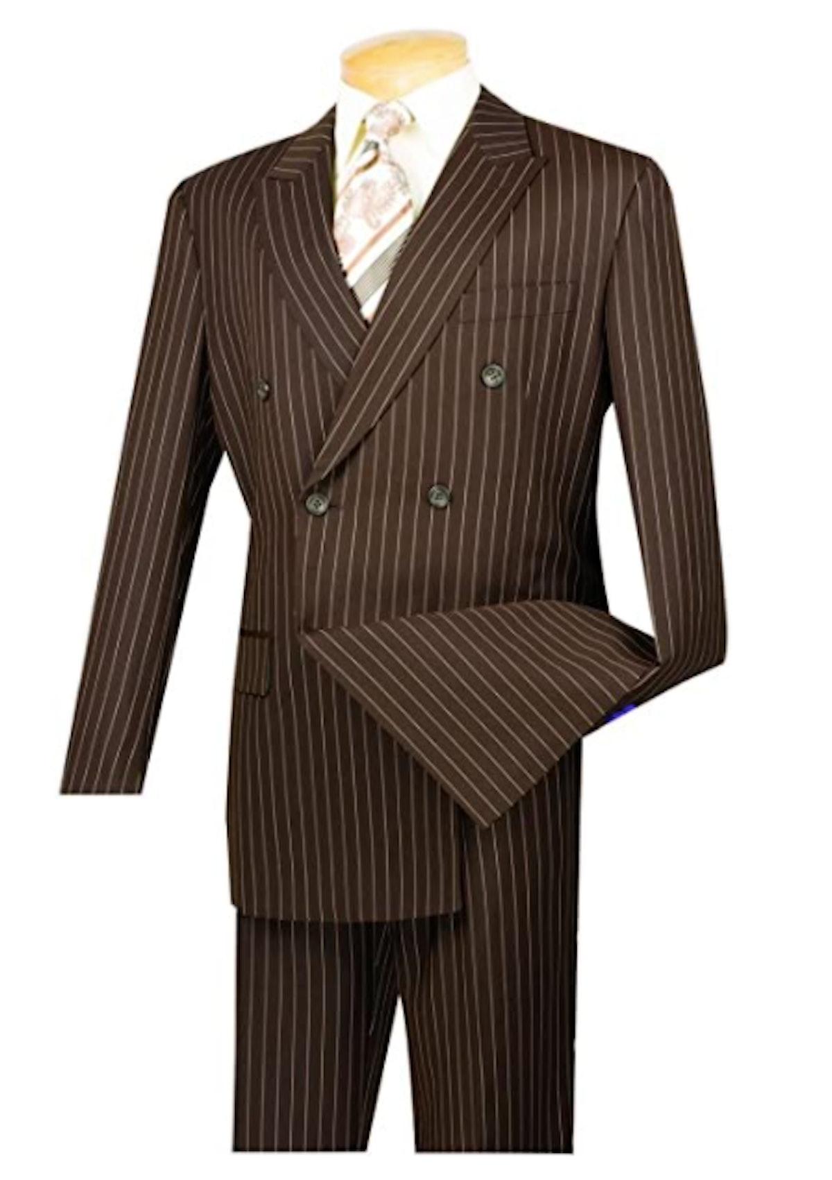 VINCI Men's Wool Stripe Suit