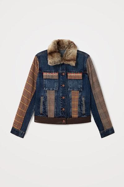 Tartan denim jacket