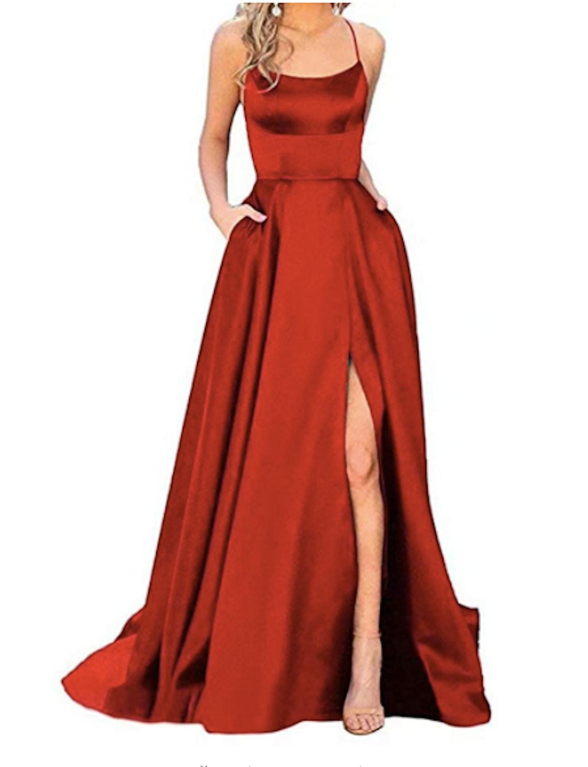 Red Spaghetti Strap Satin Dress