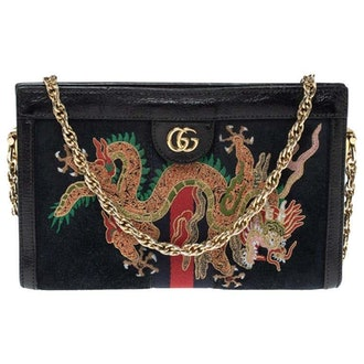 Black Suede and Leather Ophidia Dragon Bag