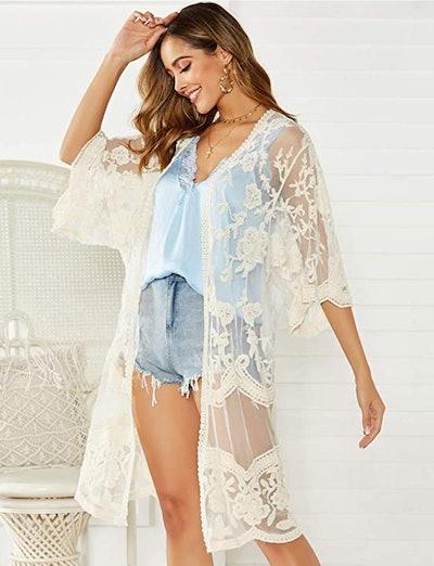 Romanstii Lace Crochet Robe
