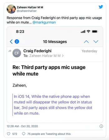 Apple's Craig Federighi says the iOS 14 mic usage indicator may remain on even when users mute thems...