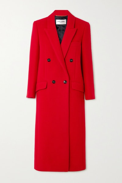 Double-breasted cashmere and wool-blend coat