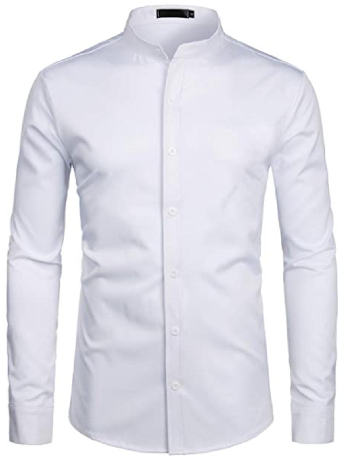 Zeroyaa Mandarin Collar Dress Shirt
