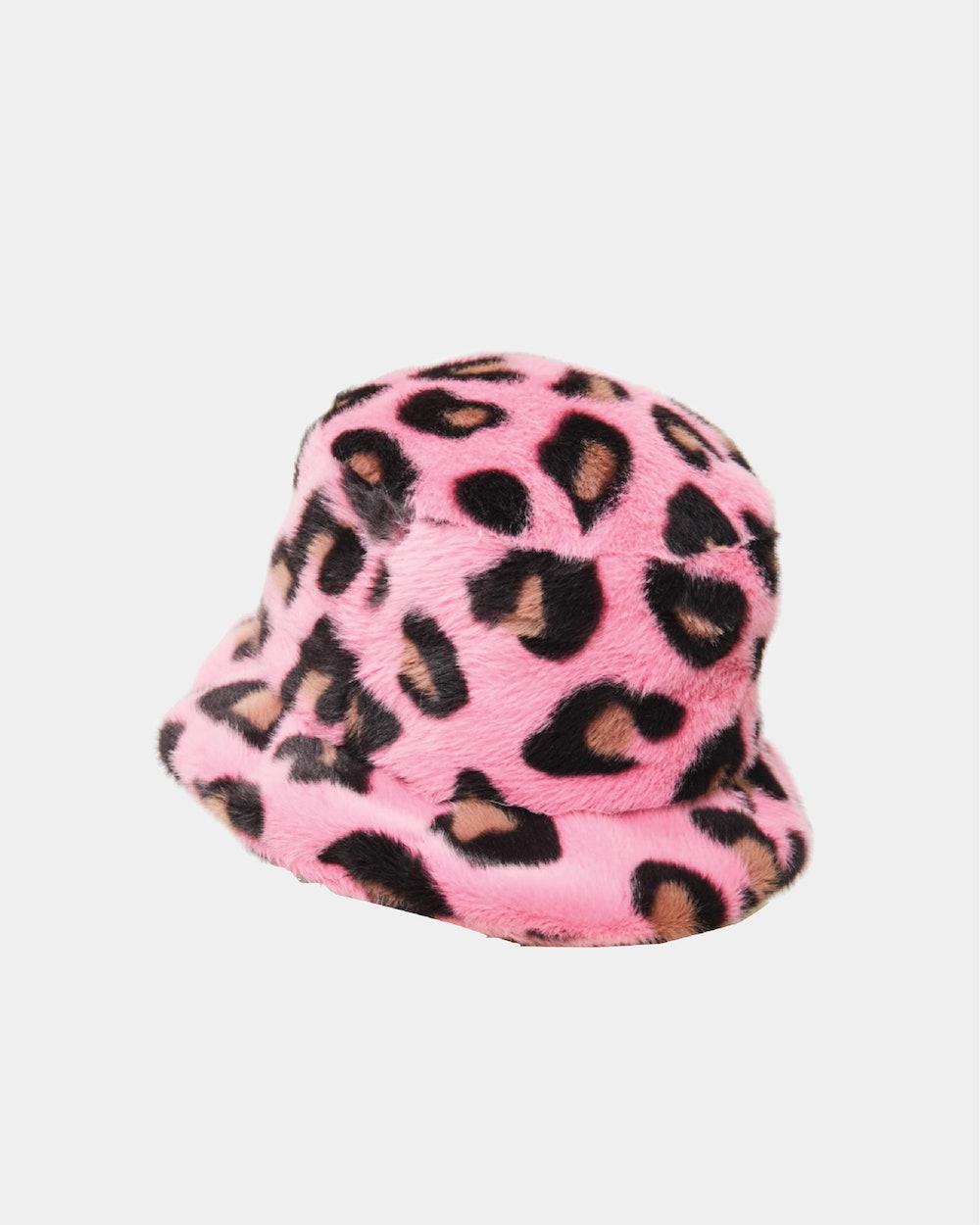 Pink Fluffy Leopard Bucket Hat