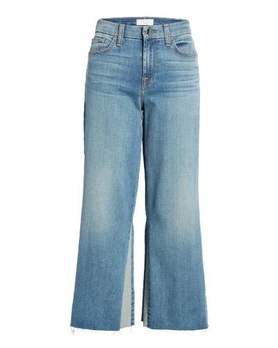 High Waist Contrast Panel Crop Wide Leg Jeans