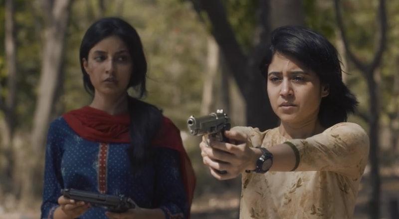 Golu shoots a gun in 'Mirzapur' Season 2, via Amazon Prime Video screenshot.