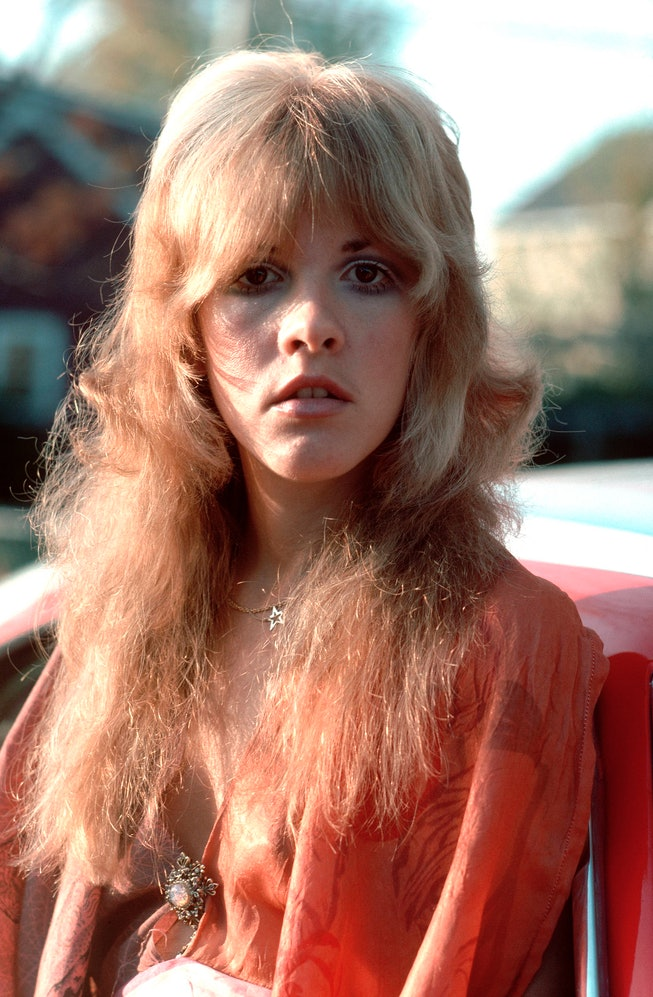 Stevie Nicks with fluffy blonde hair.