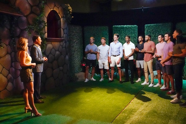 Clare and contestants during Week 2 of 'The Bachelorette'