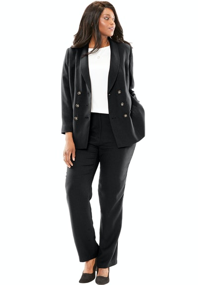 Jessica London Plus Size Double-Breasted Pantsuit