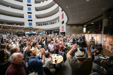 The announcement of the Nobel Prize for Physics 2013 at CERN.