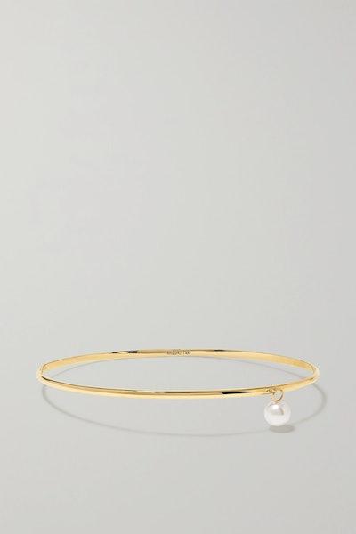 14-Karat Gold Pearl Bangle