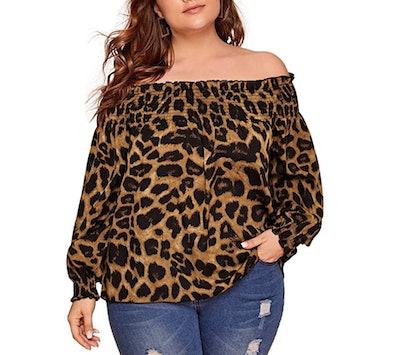 SOLY HUX Plus-Size Leopard Print  Blouse