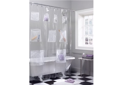 Maytex Quick Dry Mesh Pockets Shower Curtain