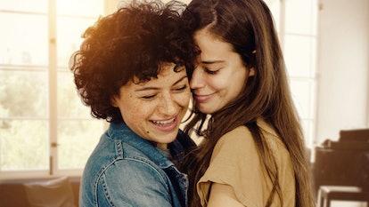 Alia Shawkat as Naima and Laia Costa as Sergio embrace in a sunlit room
