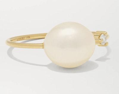 14-karat gold, pearl and diamond ring