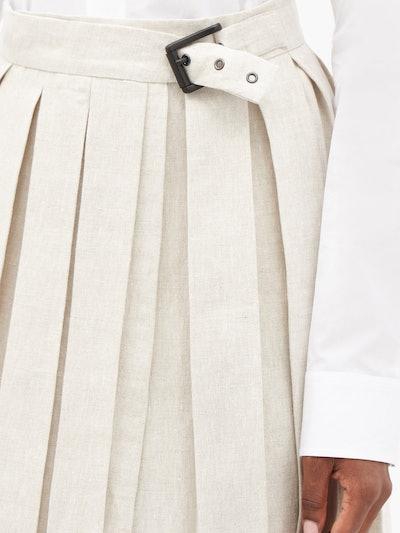 Buckled Pleated Linen Mini Skirt
