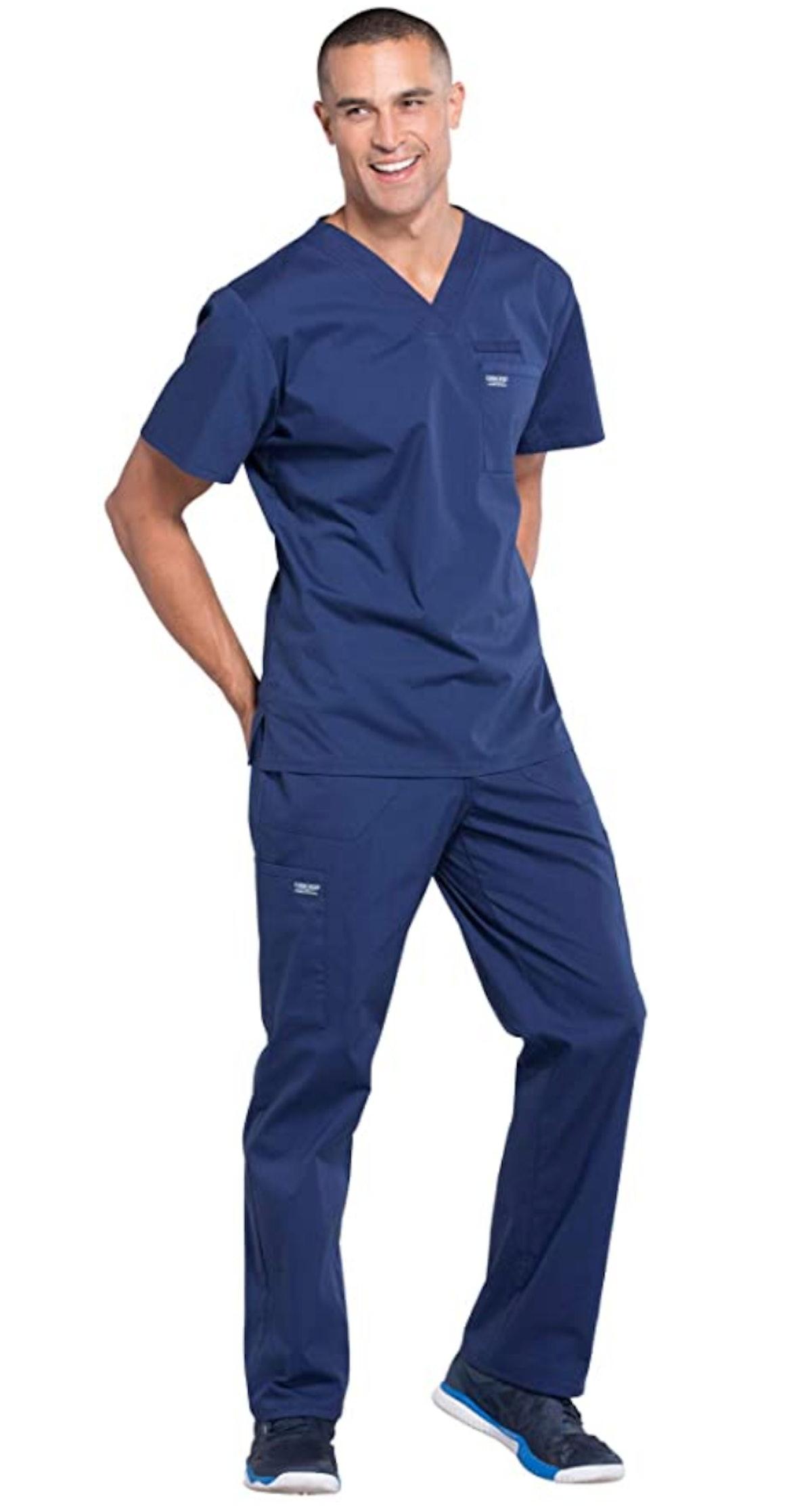 Ted Mullins often wears his scrubs on 'Schitt's Creek.'