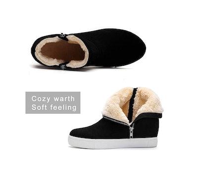 Athlefit Women's Fur Wedge Sneakers