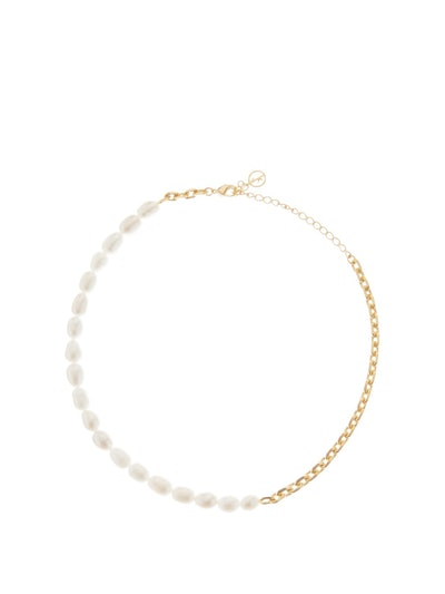 Duel Freshwater-Pearl Gold Choker Necklace