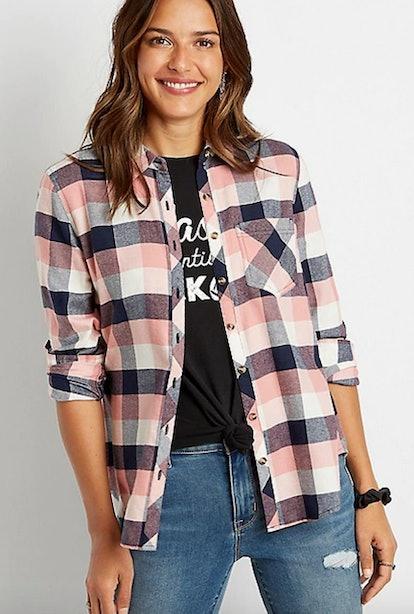 Pink Plaid Flannel Button Down Shirt