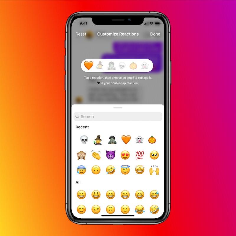 Instagrams new update with custom emoji responses.