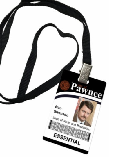 Ron Swanson Parks and Recreation Novelty ID Badge Prop Costume